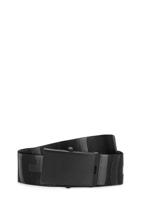 Canvas webbing belt with tonal logos, Black