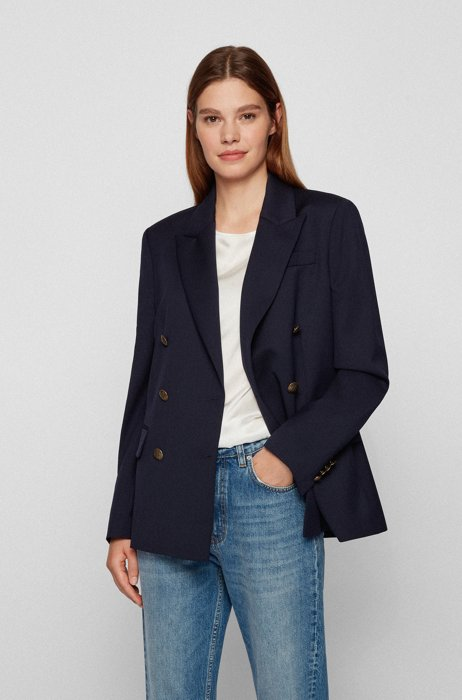 Double-breasted regular-fit jacket in stretch wool, Dark Blue