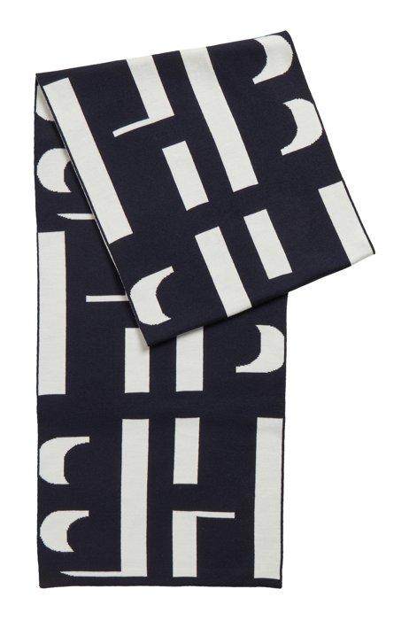 Monogram-motif scarf in virgin wool, Patterned