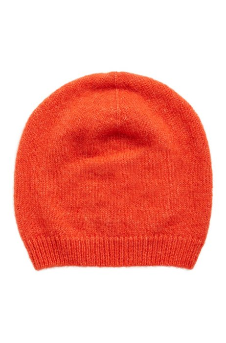 Knitted beanie hat with alpaca and wool, Orange