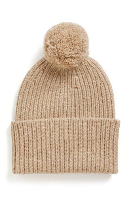Pom-pom beanie hat in virgin wool, Light Beige