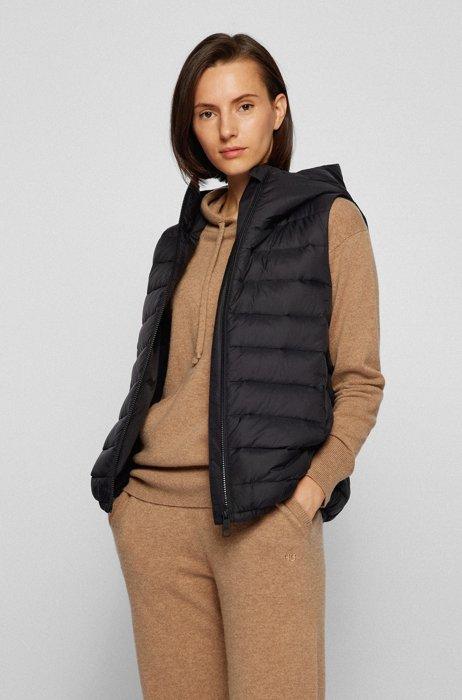 Packable slim-fit down gilet with hood, Black