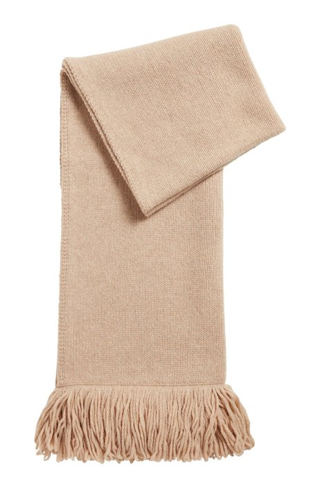 Virgin-wool scarf with long fringing, Light Beige