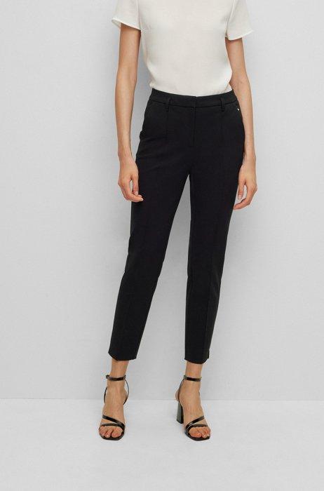 Slim-fit trousers in super-stretch jersey, Black