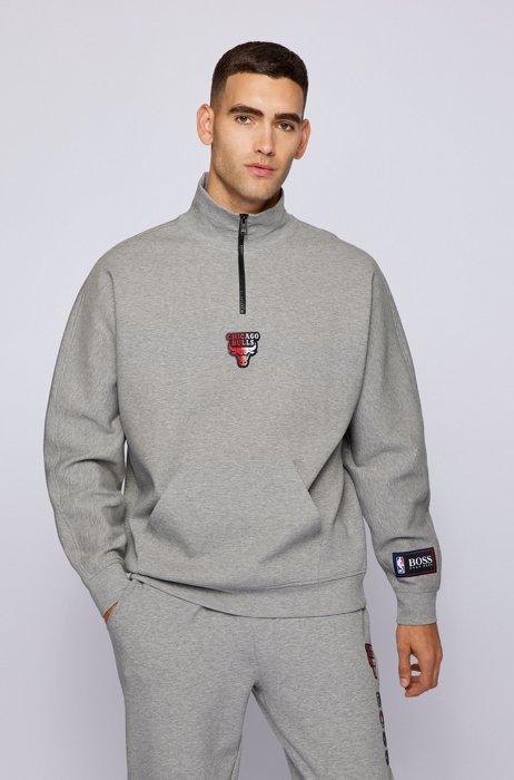 BOSS x NBA zip-neck sweatshirt with collaborative branding, Grey