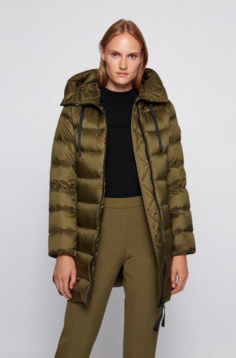 Water-repellent down jacket with oversized hood, Dark Green