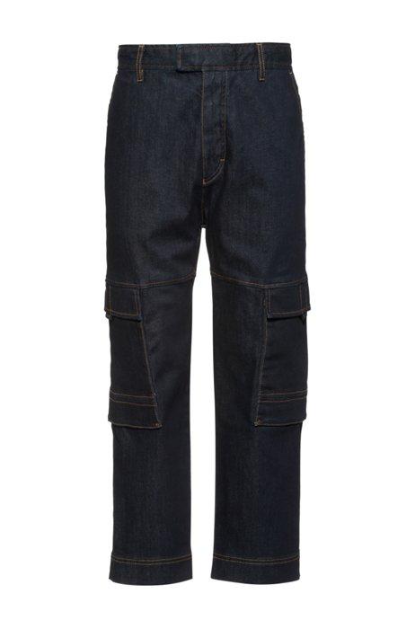 Jeans relaxed fit in comodo denim elasticizzato stile cargo, Blu scuro