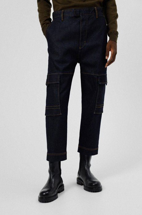 Cargo-style relaxed-fit jeans in comfort-stretch denim, Dark Blue