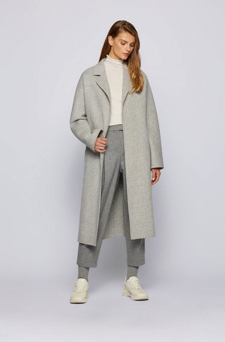 Belted coat in a patterned wool blend, Patterned