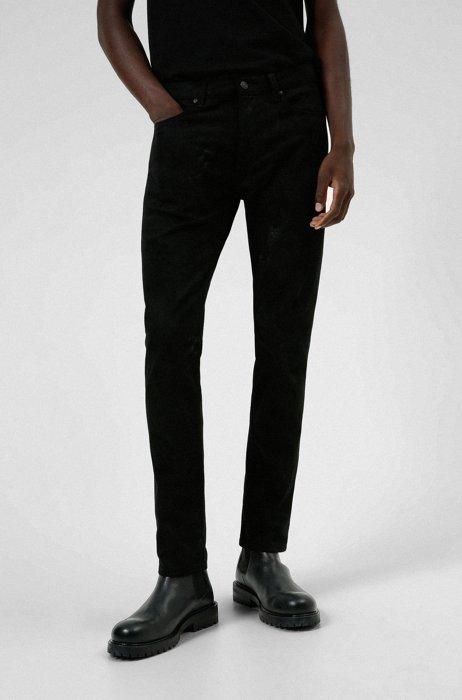 Extra-slim-fit jeans in snake-print stretch denim, Black