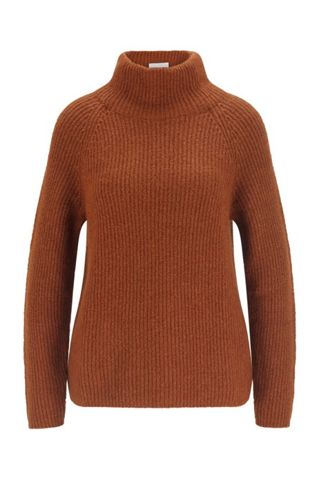 Ribbed sweater with high neckline in regular fit, Brown