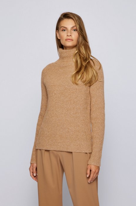 Ribbed sweater with high neckline in regular fit, Light Brown