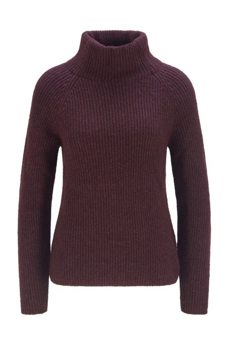 Ribbed sweater with high neckline in regular fit, Dark Red