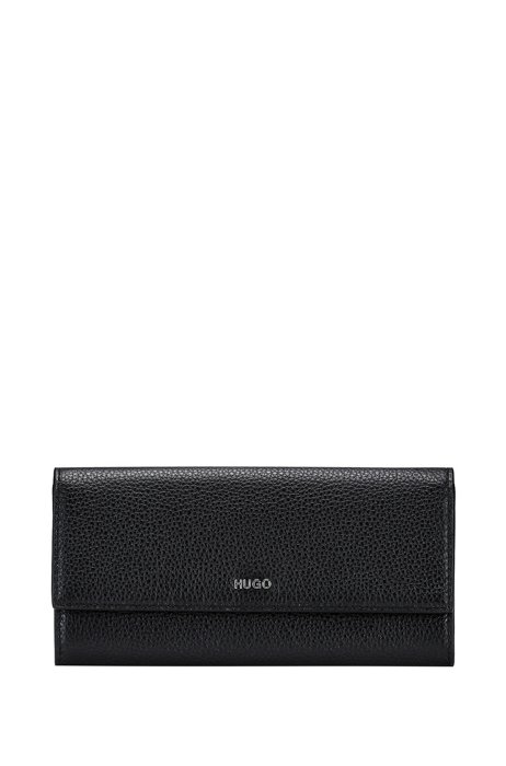 Continental wallet in grained leather with logo lettering, Black