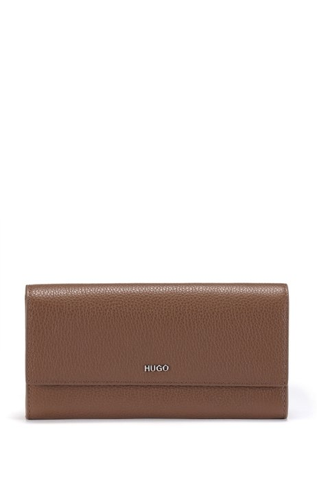 Continental wallet in grained leather with logo lettering, Brown