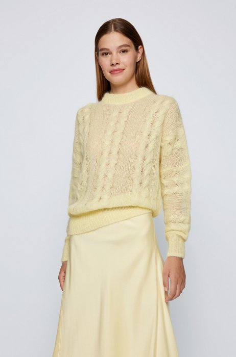 Relaxed-fit lightweight sweater with cabled structure, Light Yellow