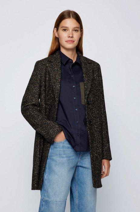 Regular-Fit Mantel im Blazer-Stil mit Fischgrat-Struktur, Dunkelbraun