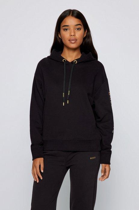 Golden-logo hooded sweatshirt in an organic-cotton blend, Black