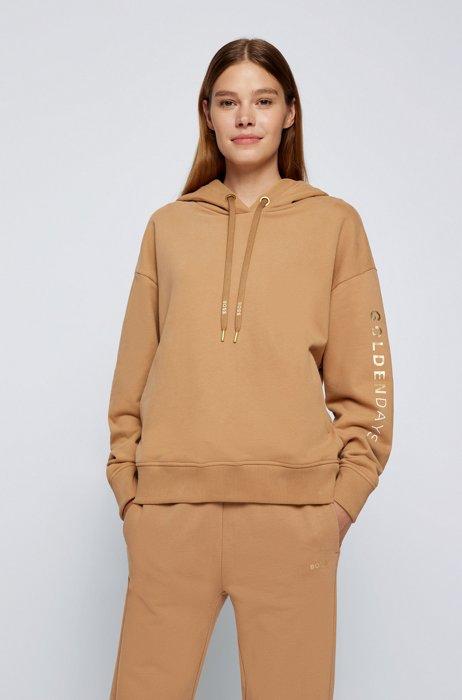 Golden-logo hooded sweatshirt in an organic-cotton blend, Light Brown
