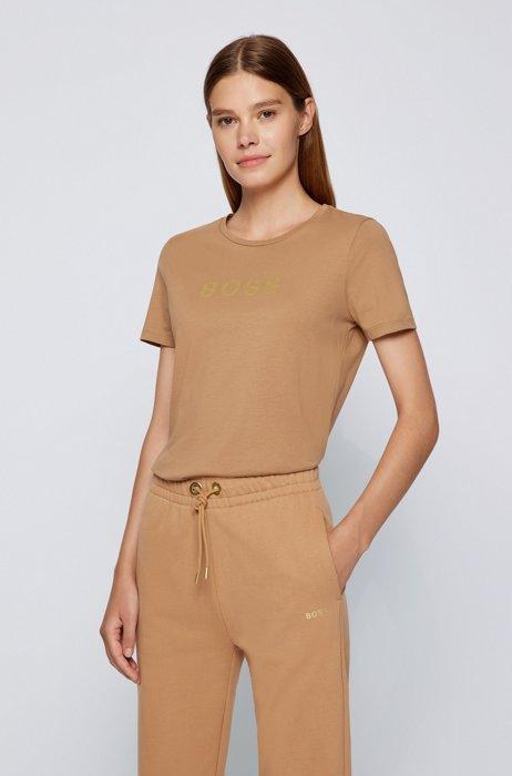Organic-cotton logo T-shirt in a slim fit, Light Brown