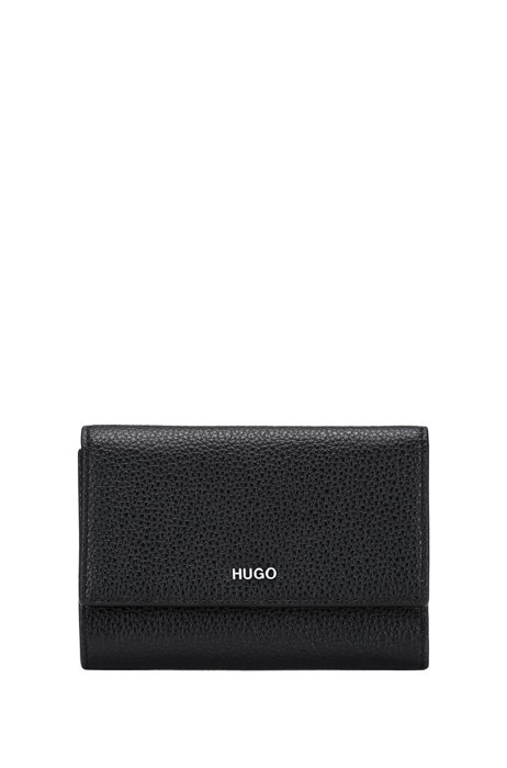 Grained-leather wallet with metallic logo lettering, Black