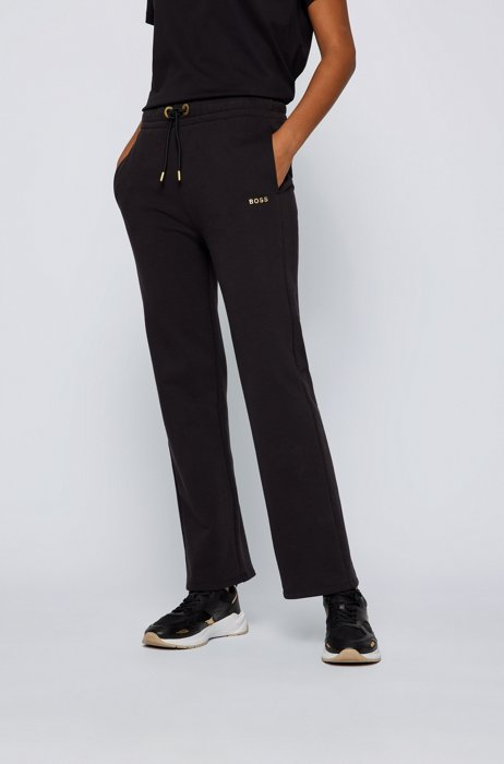 Regular-fit tracksuit bottoms with gold-effect trims, Black