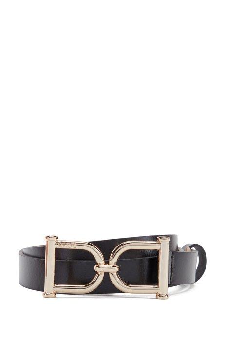 Signature-buckle belt in Italian leather, Black