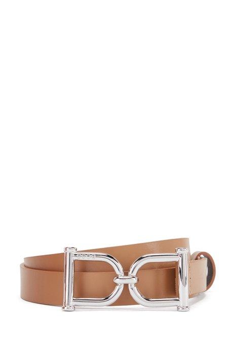 Gürtel aus italienischem Leder mit charakteristischer Schließe, Hellbraun