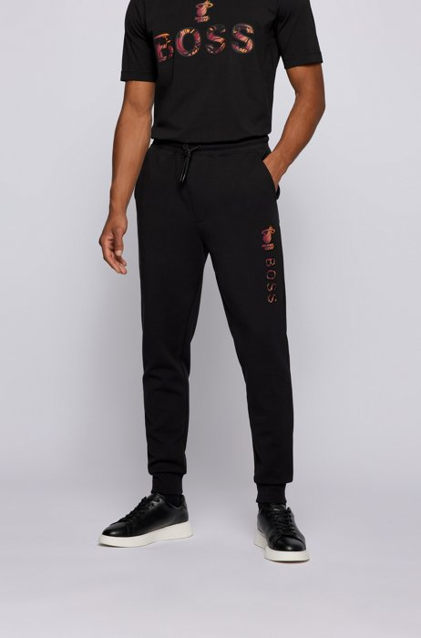 BOSS x NBA cotton-blend tracksuit bottoms with colorful branding, Black