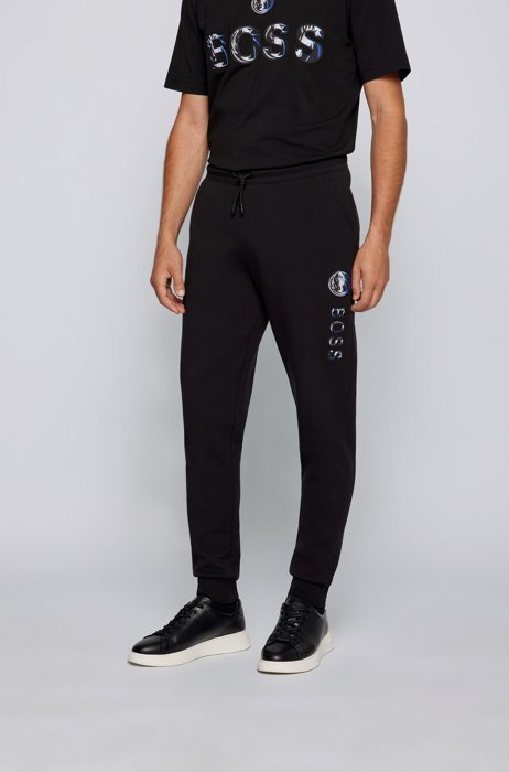 BOSS x NBA cotton-blend tracksuit bottoms with colorful branding, Dark Grey
