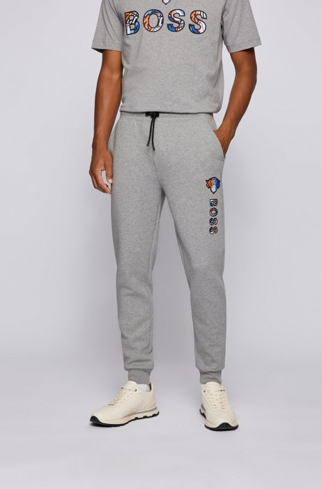BOSS x NBA cotton-blend tracksuit bottoms with colorful branding, Grey