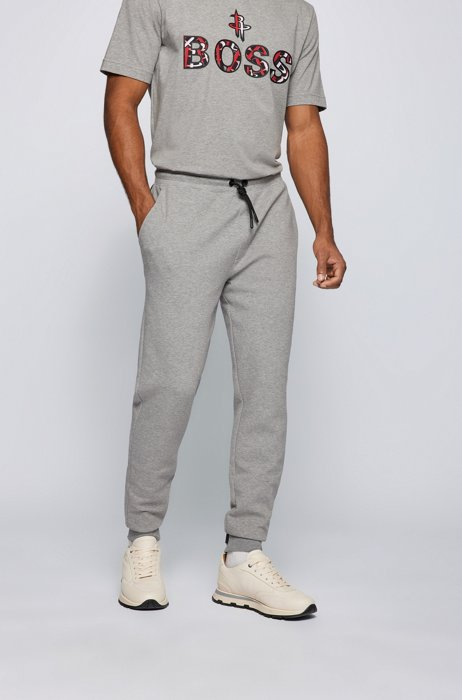 BOSS x NBA cotton-blend tracksuit bottoms with colorful branding, Silver