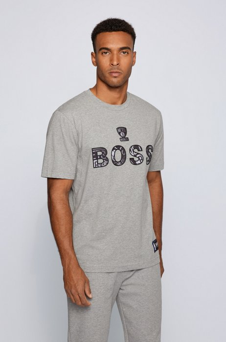 BOSS x NBA stretch-cotton T-shirt with colorful branding, Grey