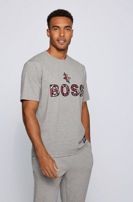 BOSS x NBA stretch-cotton T-shirt with colorful branding, Silver