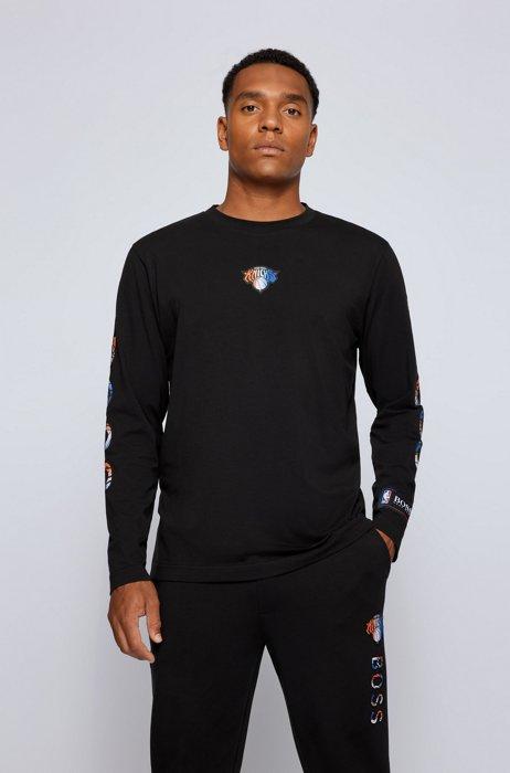BOSS x NBA long-sleeved T-shirt with colorful branding, Black