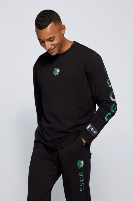 BOSS x NBA long-sleeved T-shirt with colorful branding, Dark Grey