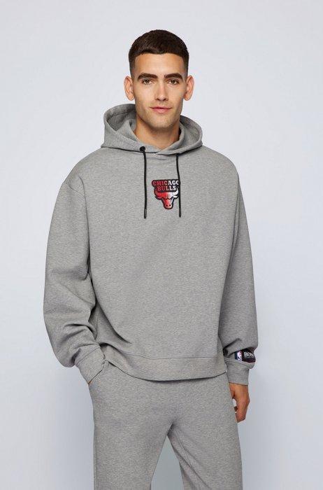 BOSS x NBA cotton-blend hoodie with coordinating logos, Grey