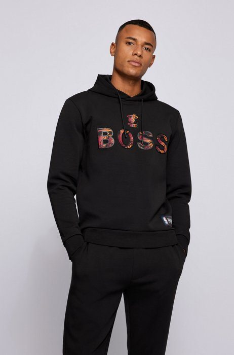 BOSS x NBA cotton-blend hoodie with colorful branding, Black