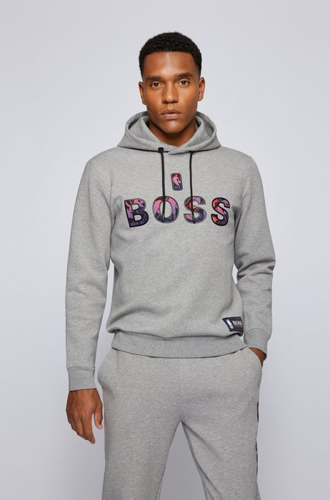 BOSS x NBA cotton-blend hoodie with colorful branding, Grey