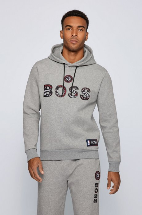BOSS x NBA cotton-blend hoodie with colorful branding, NBA RAPTORS