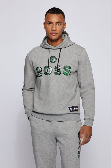 BOSS x NBA cotton-blend hoodie with colorful branding, Silver