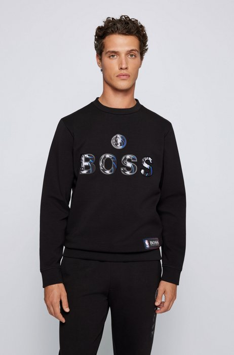 BOSS x NBA relaxed-fit sweatshirt with colorful branding, Dark Grey