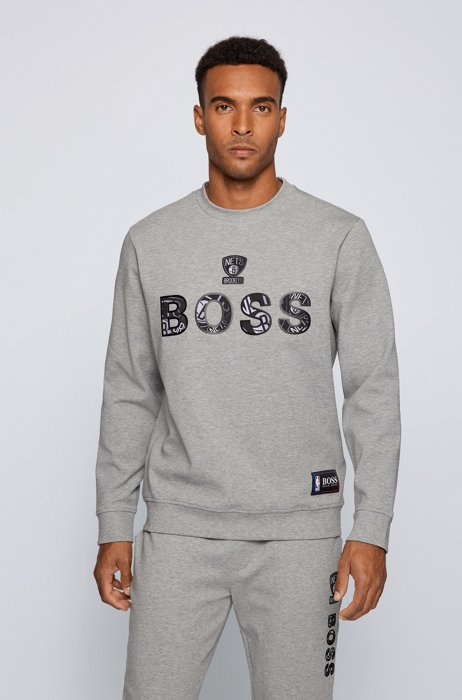 BOSS x NBA relaxed-fit sweatshirt with colorful branding, Grey