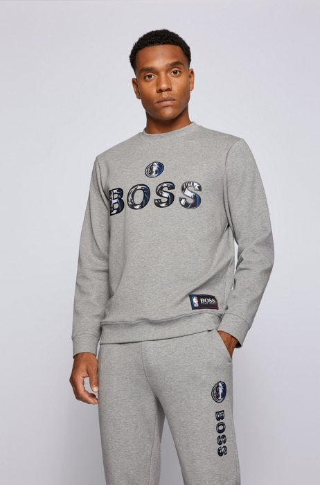 BOSS x NBA relaxed-fit sweatshirt with colorful branding, Silver