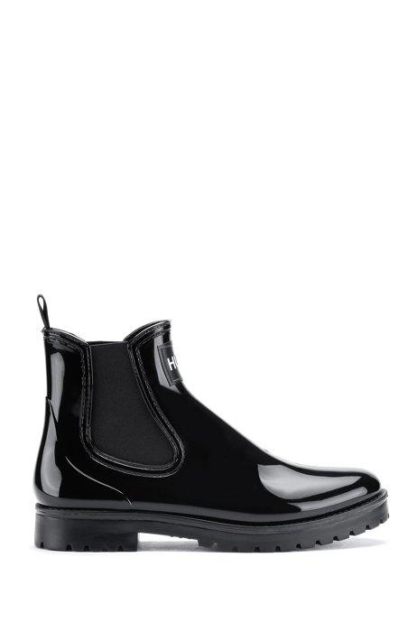 PVC rain boots with logo patch, Black