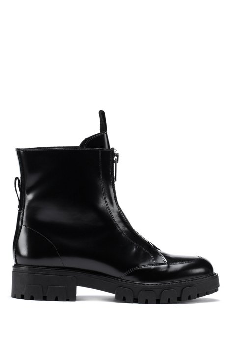 Italian-leather boots with front zip, Black
