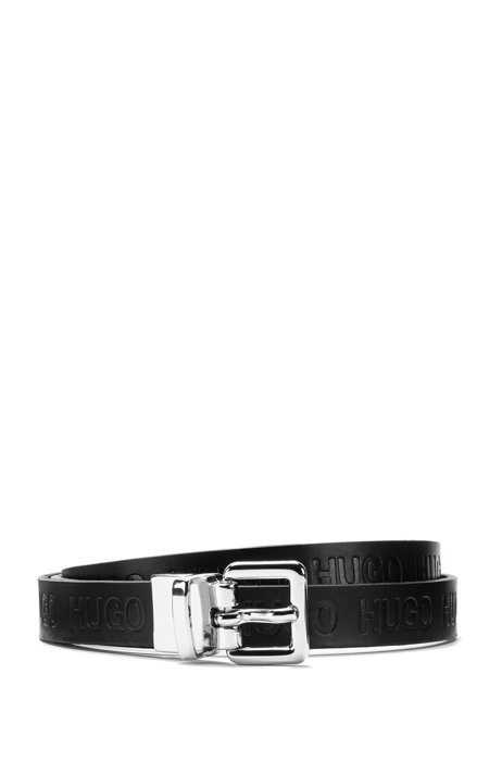Reversible belt in smooth and logo-embossed Italian leather, Black