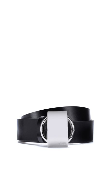 Italian-leather belt with statement buckle, Black