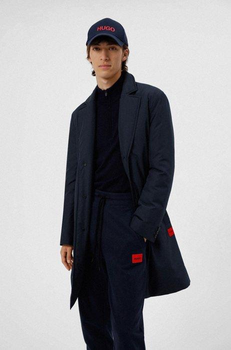 Wasserabweisender Regular-Fit Mantel mit Logo, Dunkelblau