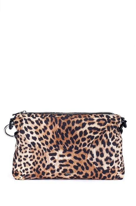 Clutch mit Leoparden-Print und Kettenriemen, Gemustert